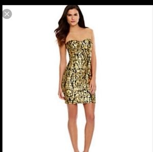 Gianni Bini Gold & Black Patterned Strapless Dress